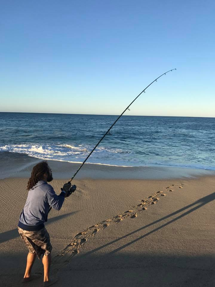 large fishing pole in water