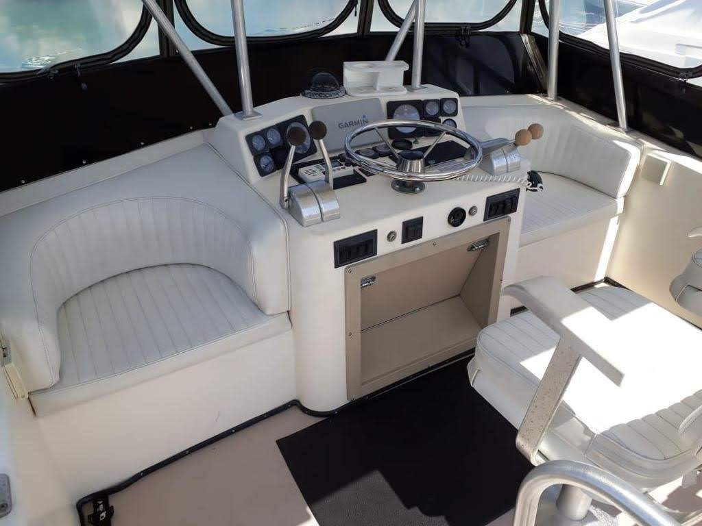 captains chair on luxury yacht